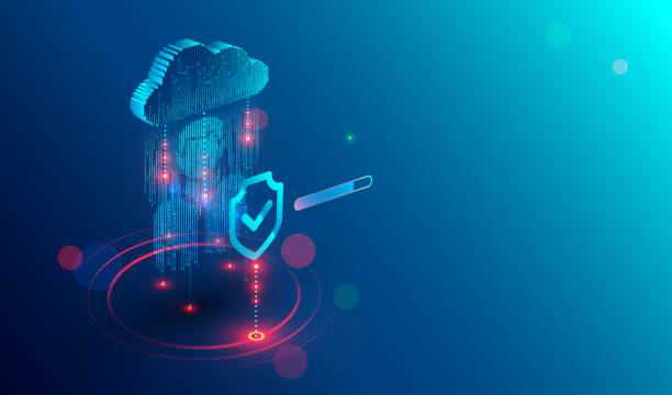 Secure privacy data in internet. Symbol of shield protections of icon man, which consists digit code. The protection of personal data in cloud storage. Cyber security tech concept.